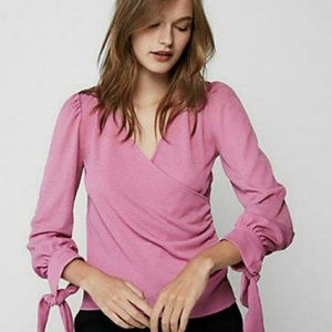 Express Faux Wrap Top Small Pink Purple Small
